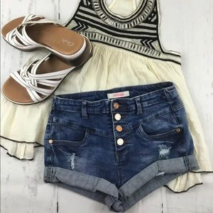 High Waisted Denim Shorts Distressed Refuge 2